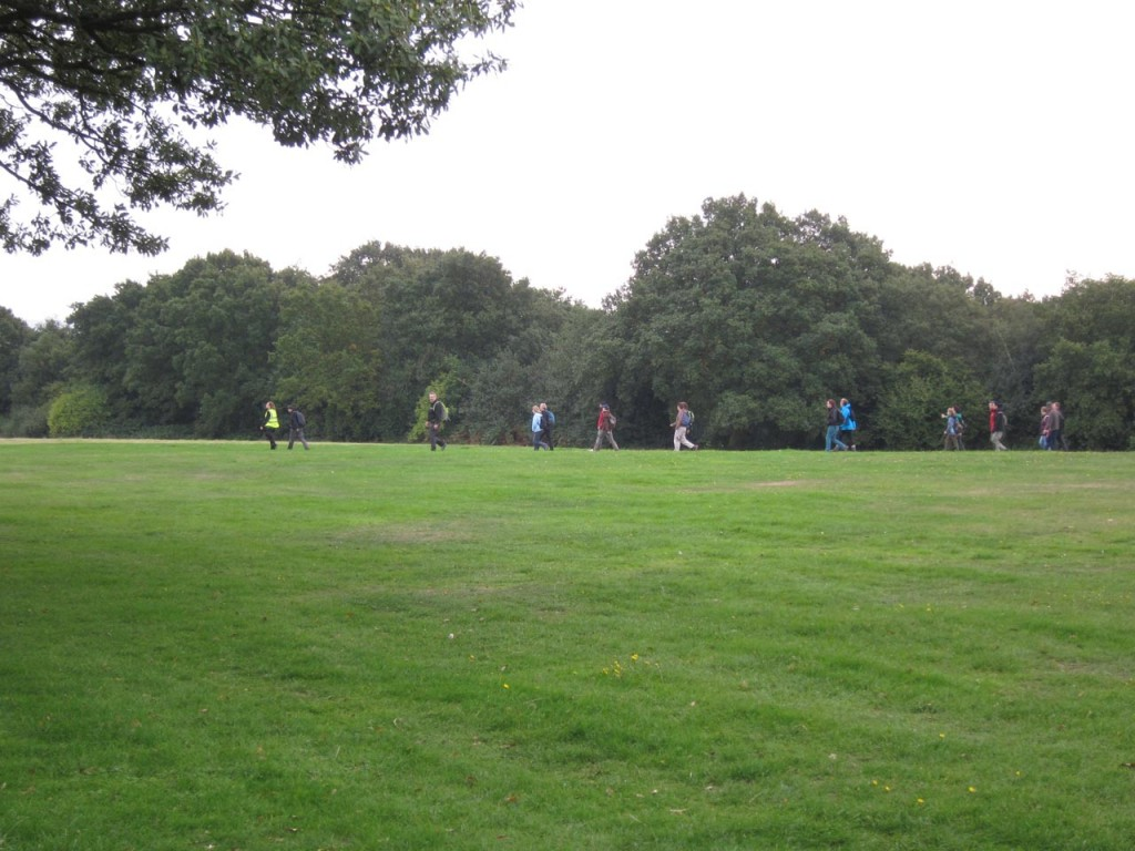 Ian Bull, left, leads the Green Chain Megawalkers across Shrewsbury Park