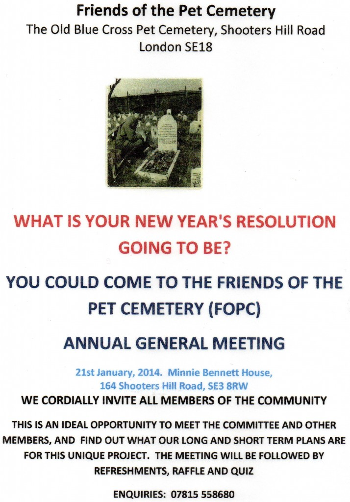 Friends of the Pet Cemetery AGM Notice