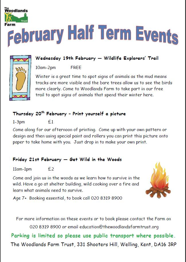 Woodlands Farm February 2014  half term events leaflet