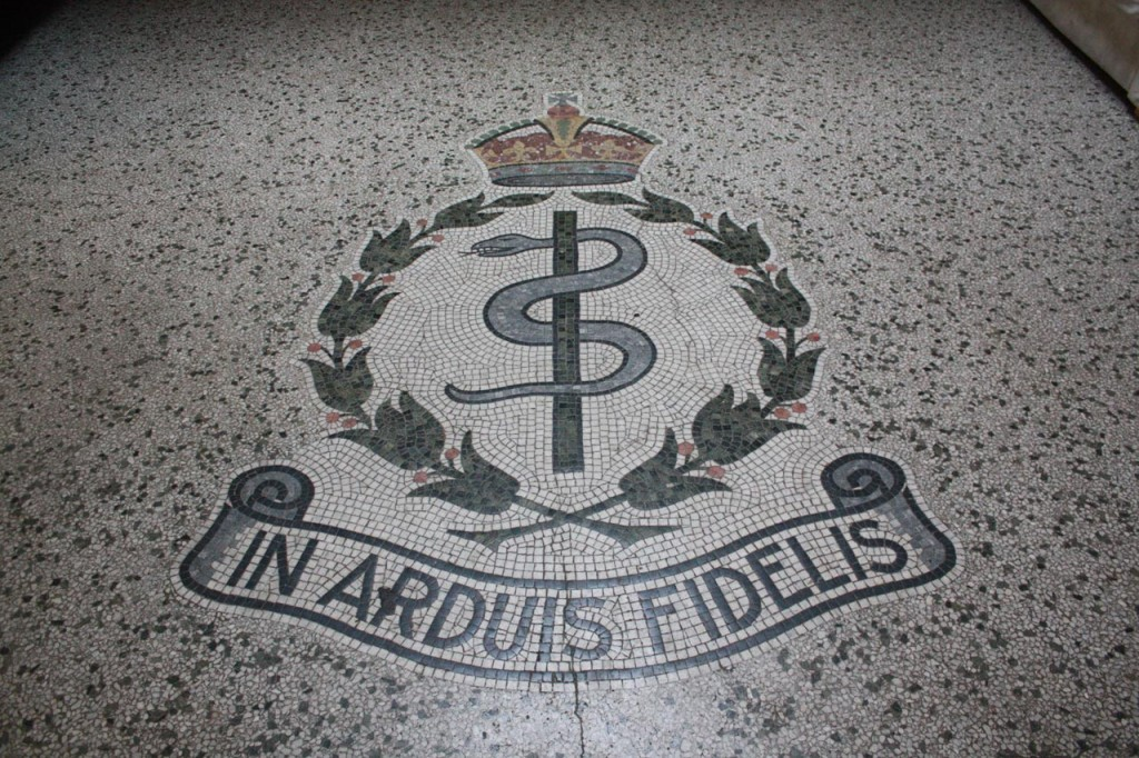 Cap badge of the RAMC in mosaic tiles in Victoria House