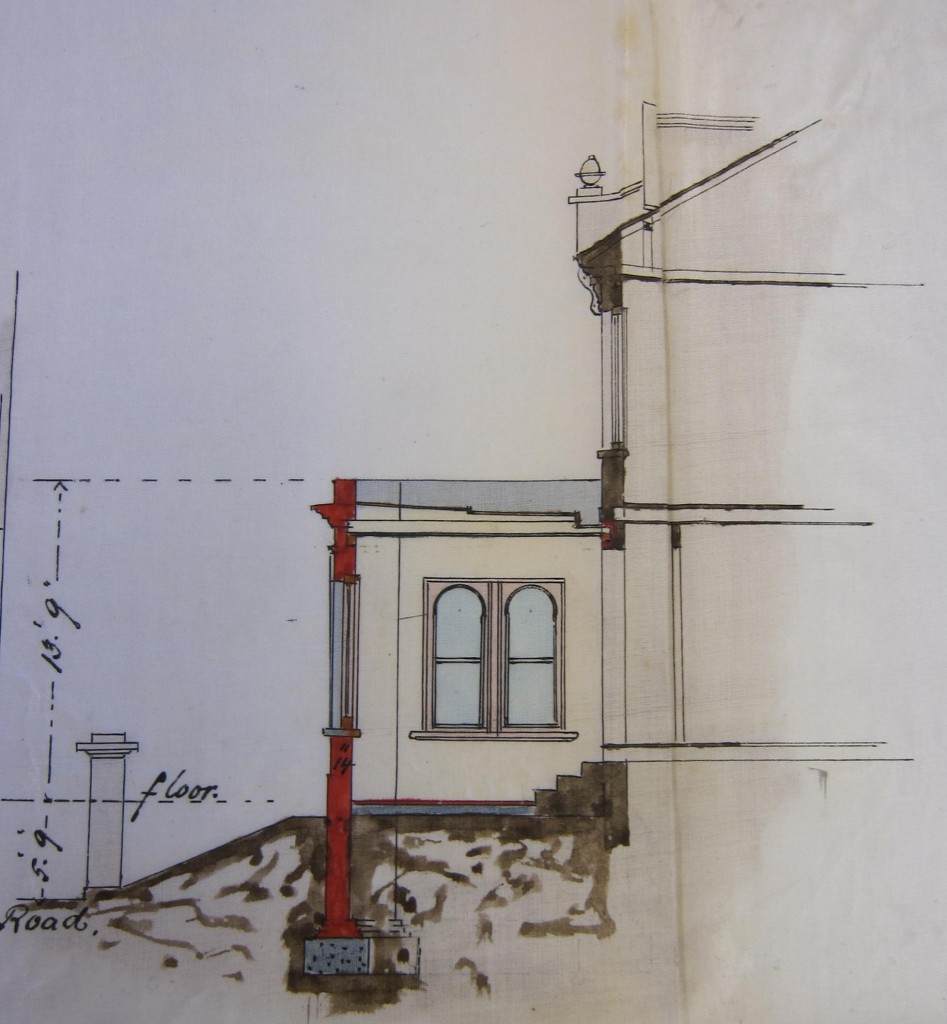 Side view of proposed new portico for Bonnie Blink