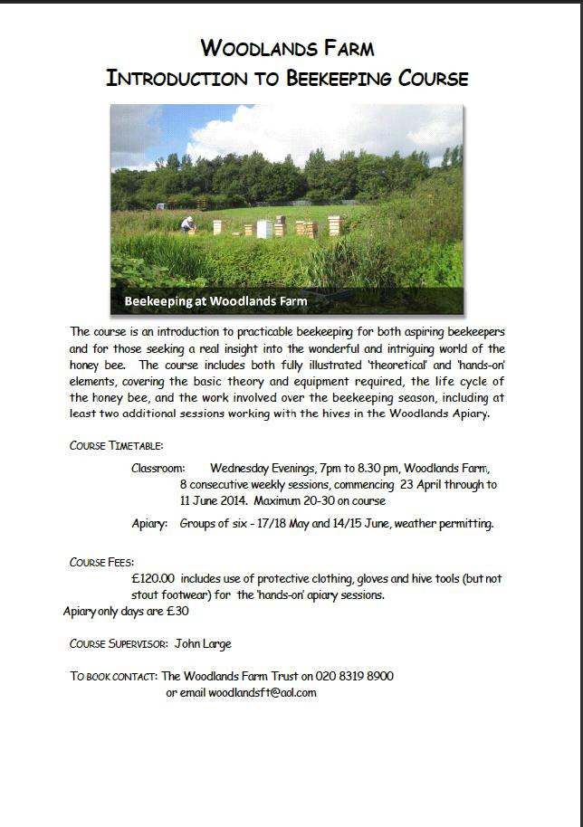 Woodlands Farm Bee Keeping Course Poster