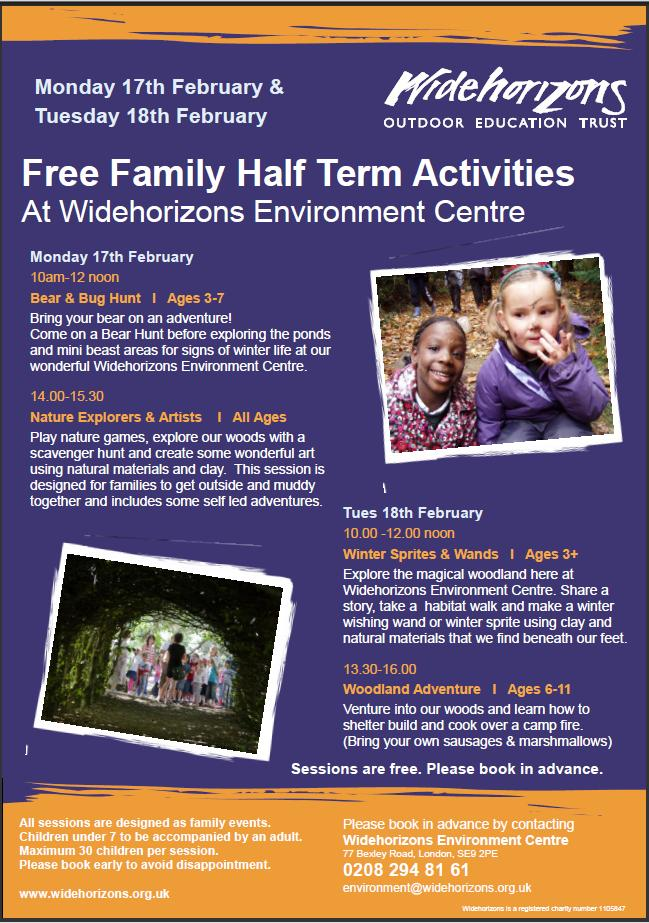 WideHorizons Environment Centre February 2014 Half Term Events Flyer