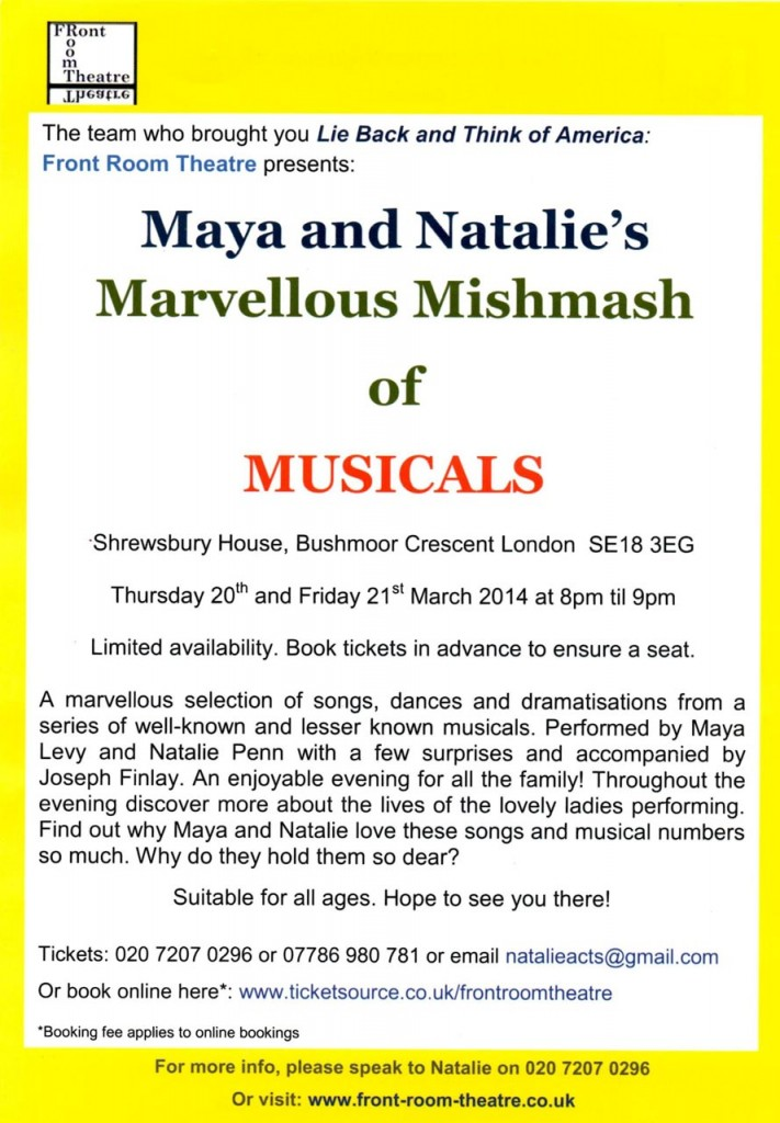 Maya and Natalie's Marvellous Mishmash of Musicals leaflet reverse