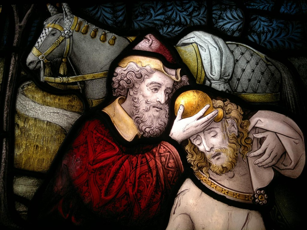 Detail of stained glass window in memory of Woolfield Fitzhardinge at Christ Chiurch Shooters Hill