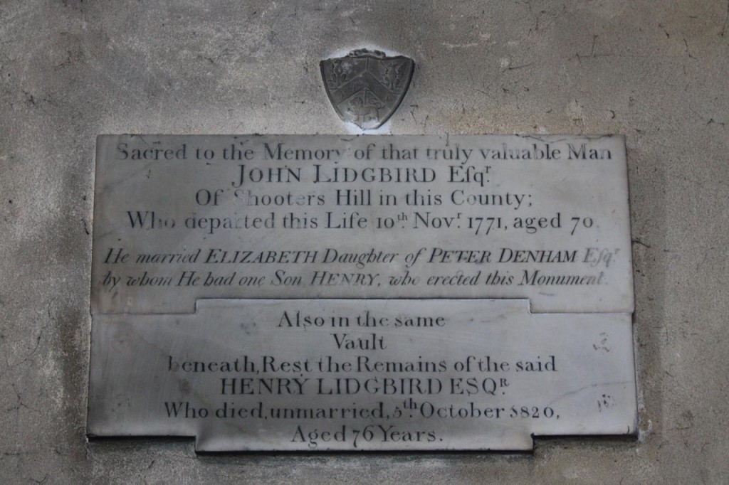 "Memorial to ""that truly valuable man"" John Lidgbird in St Nicholas Plumstead"
