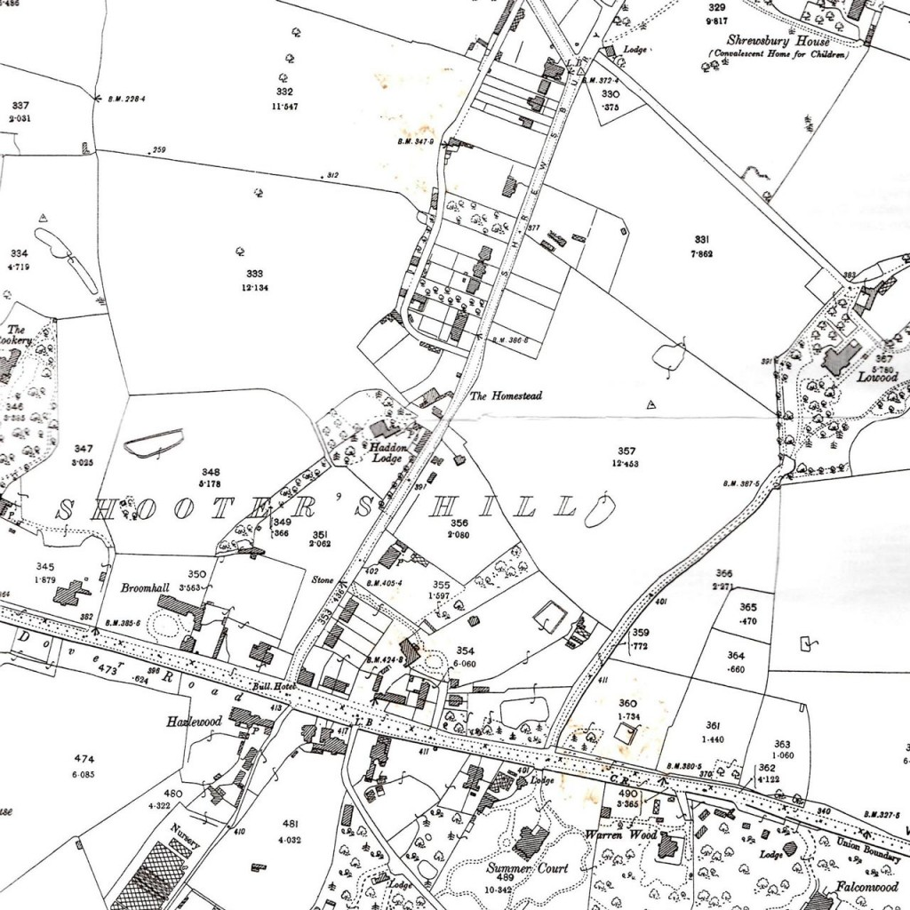Snippet from Alan Godfrey's 1894 Ordnance Survey Map of Shooters Hill