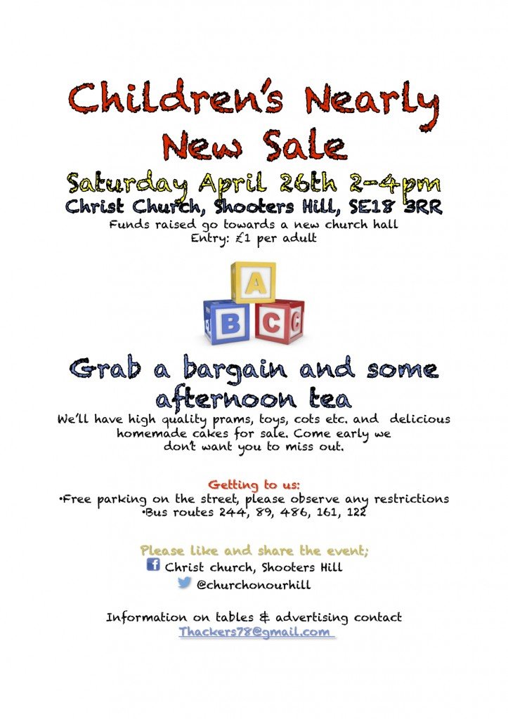 Christ Church Children's nearly new sale poster