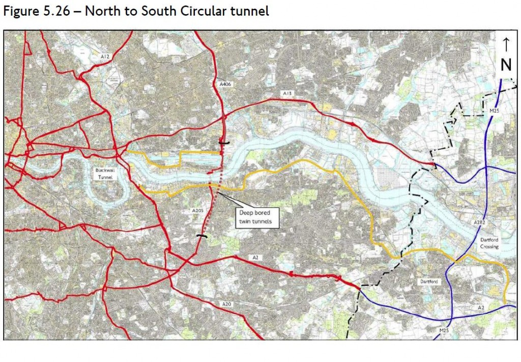 Shooters Hill Tunnel map from TfL's Assessment of Options