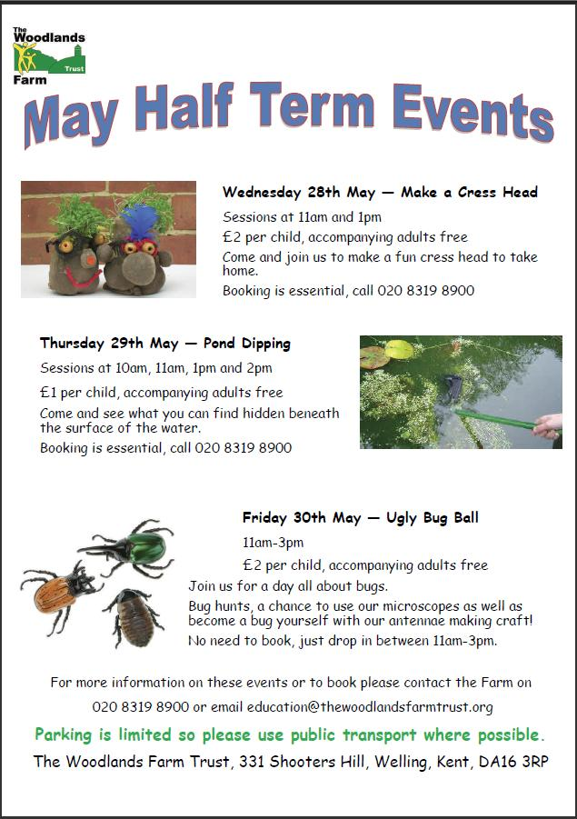Woodlands Farm half-term events poster