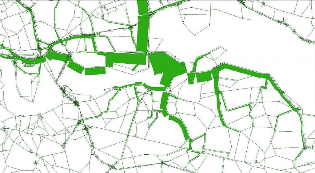 Snippet from Figure 2.6 of Newham's Gallions Reach crossings study showing traffic flows northbound if a bridge is built