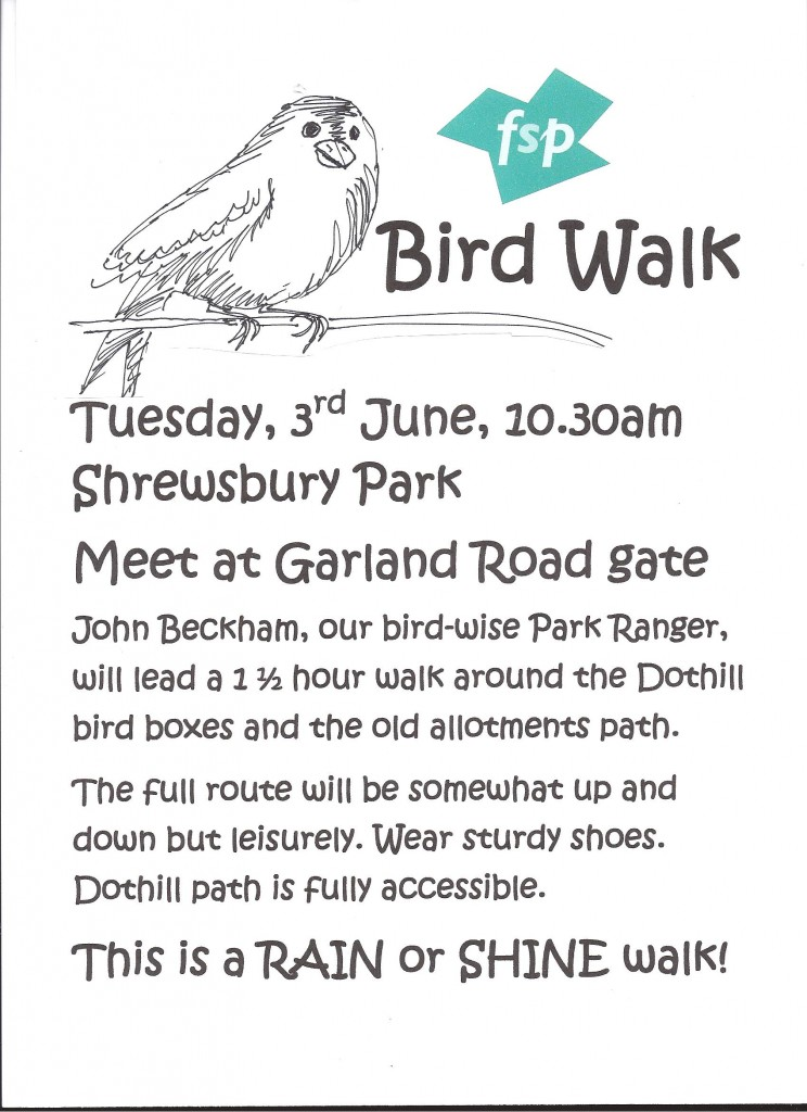 Shrewsbury Park Bird Walk poster