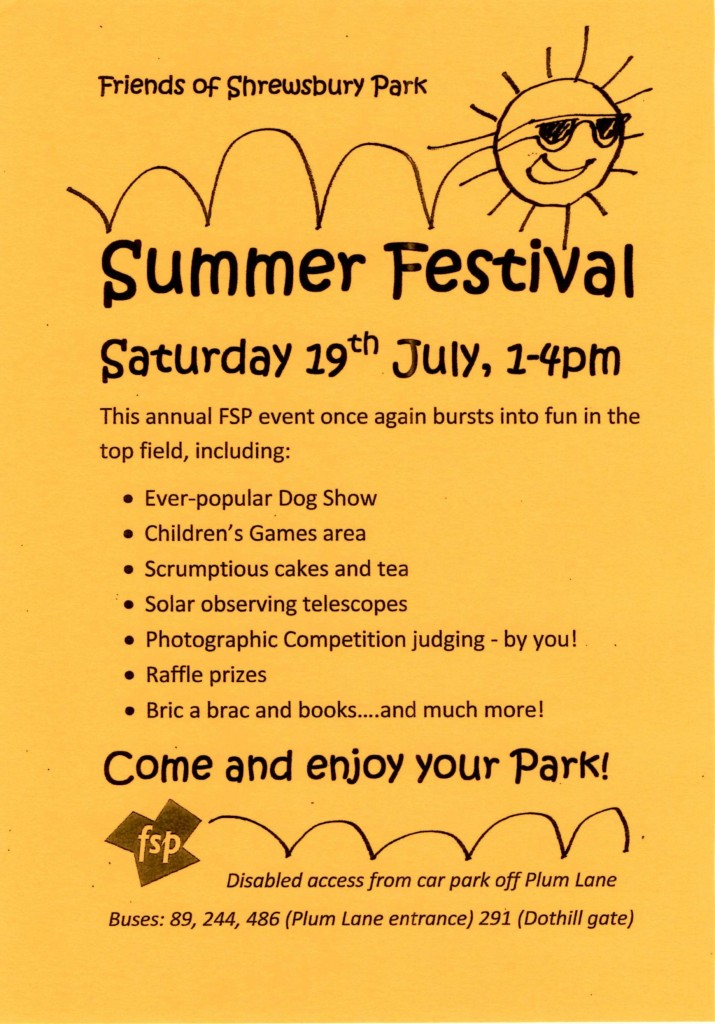 Friends of Shrewsbury Park Summer Festival leaflet
