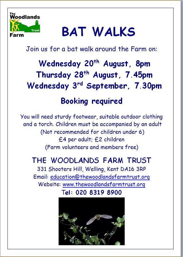 Woodlands farm Bat Walk poster