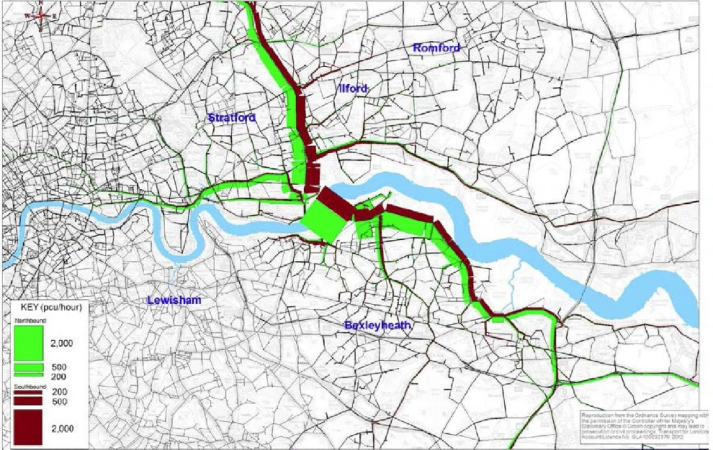 Routing of trips using a charged Gallions Bridge from TfL's Traffic Impact Report
