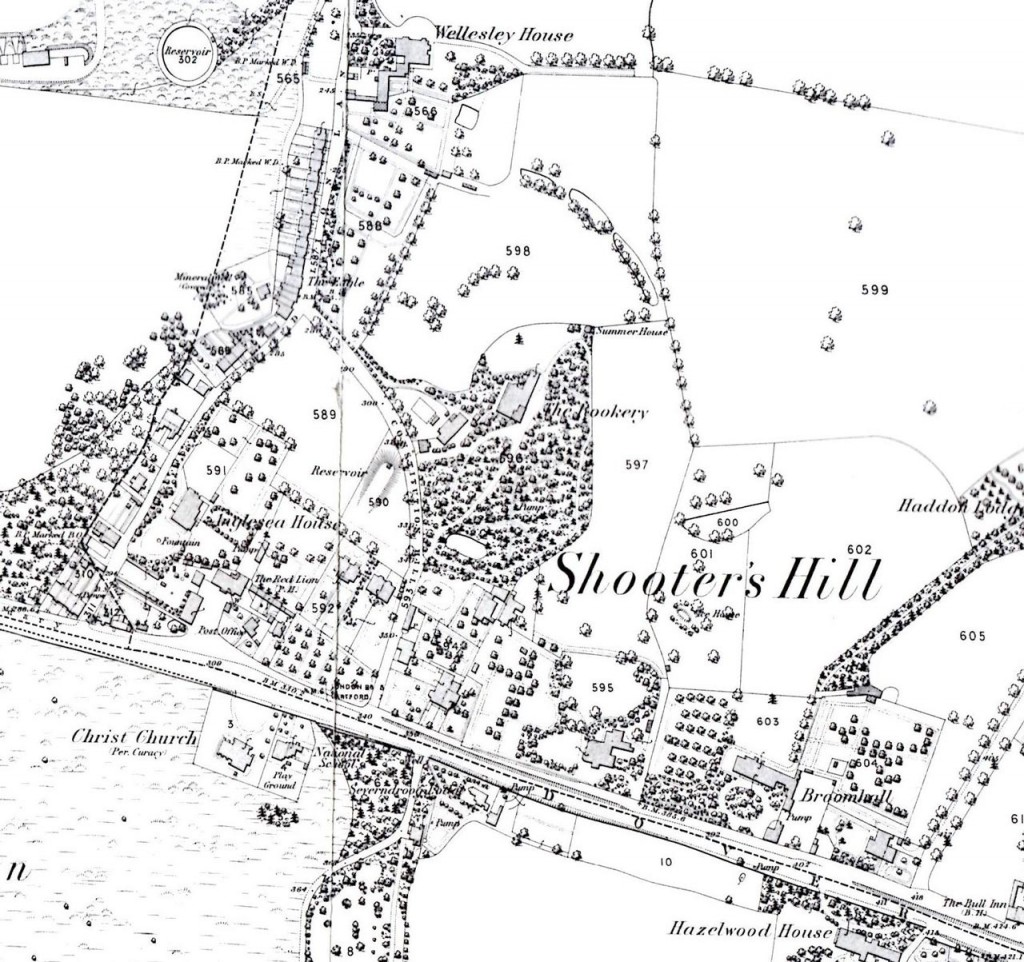 Snippet from Alan Godfrey's 1866 OS Map of Shooters Hill
