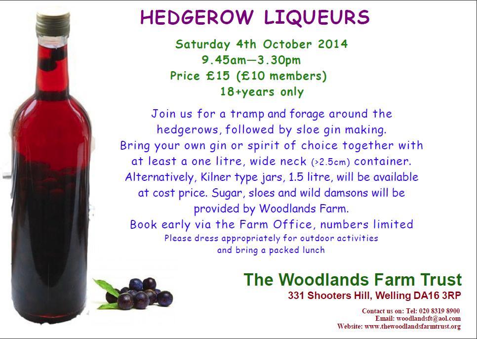 Hedgerow Liqueurs 2014