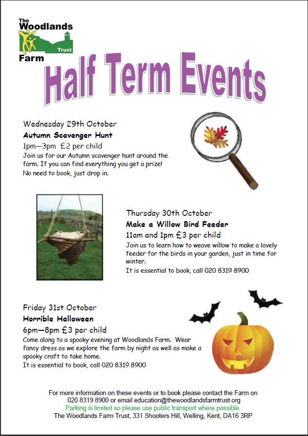 October Half Term Events poster 2014