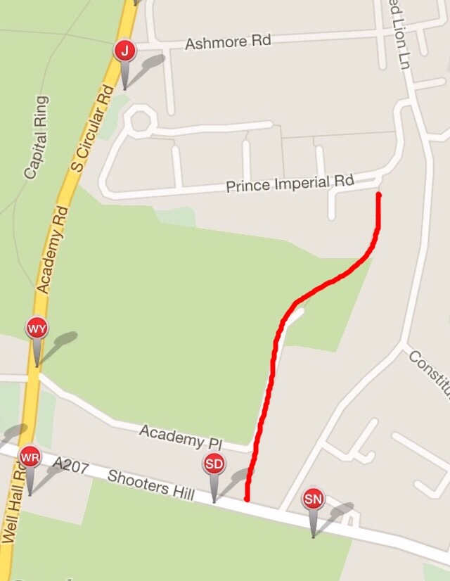 Map showing route from Shooters Hill to Red Lion Lane