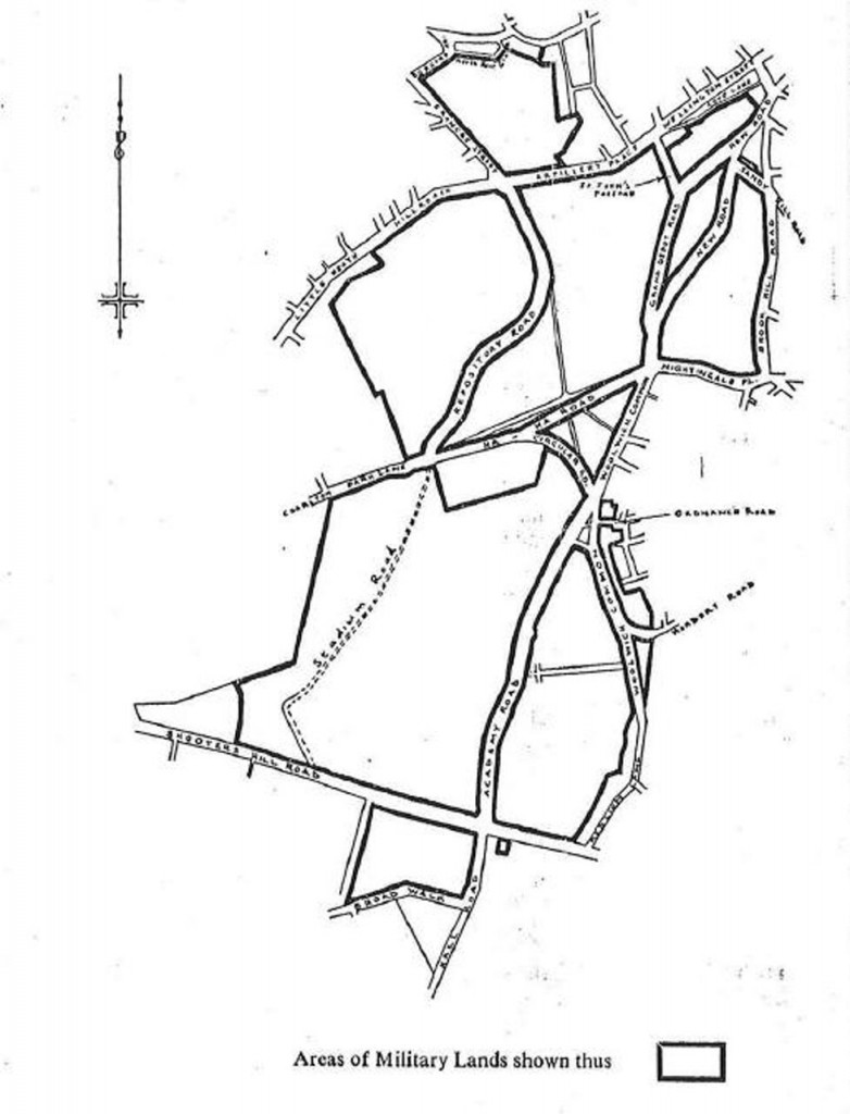 "Map of Areas of Military Land in ""The Woolwich Military Lands Byelaws"""