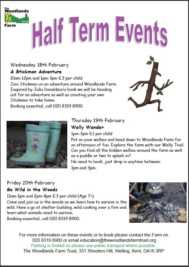 February Half Term Events poster 2015
