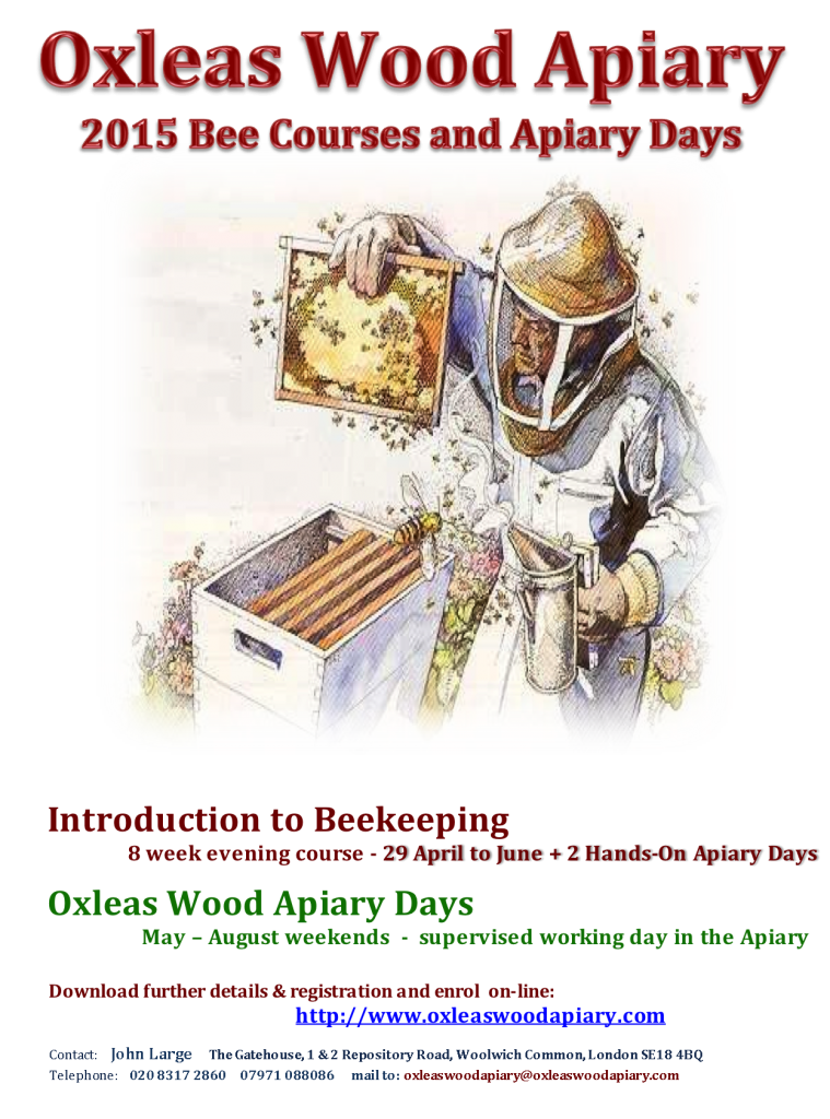 Oxleas Wood Apiary Bee Courses poster