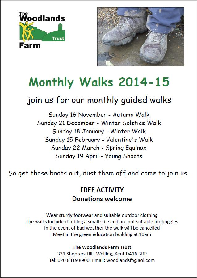 Woodlands Farm Monthly Walks 2014-15 poster