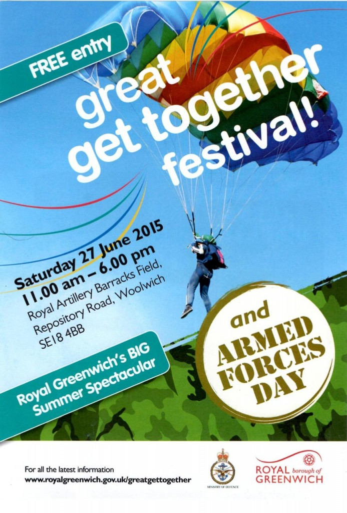 Great Greenwich Get Together/ Armed Forces Day leaflet