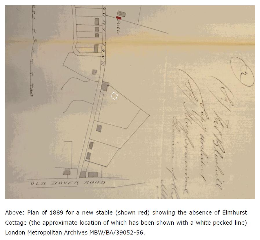 Map from HeritageCollective's Heritage Statement about Elmhurst Cottage