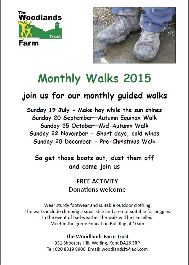 Woodlands Farm Monthly Walks poster