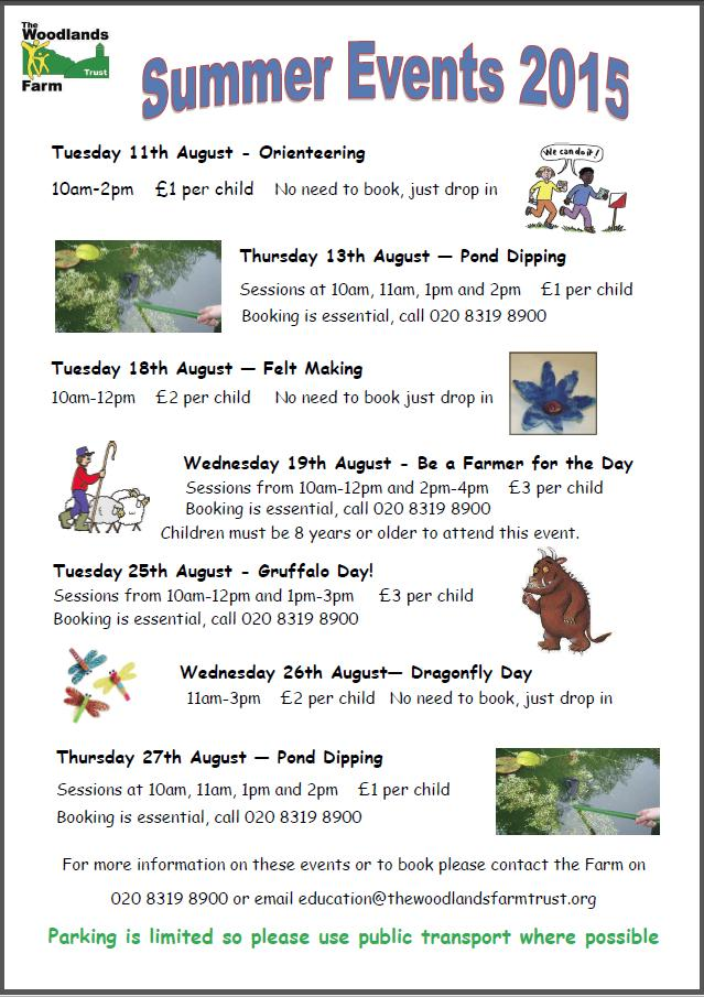 Woodlands Farm summer events poster