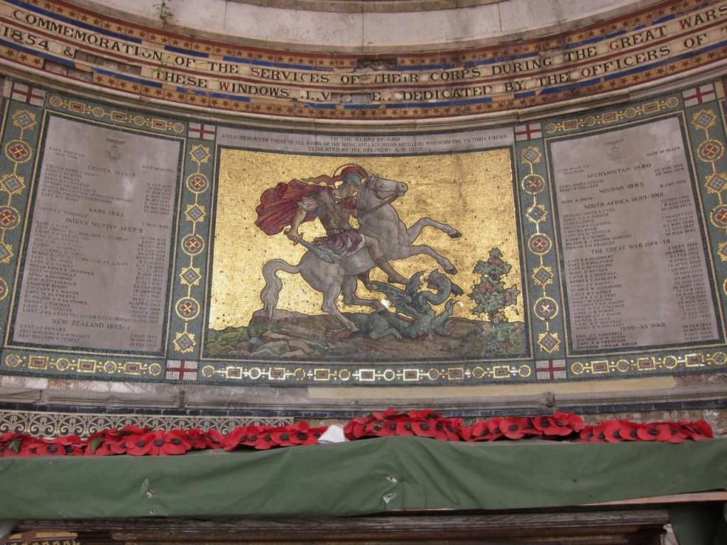 St George mosaic at St George's Garrison Church after first phase of restoration