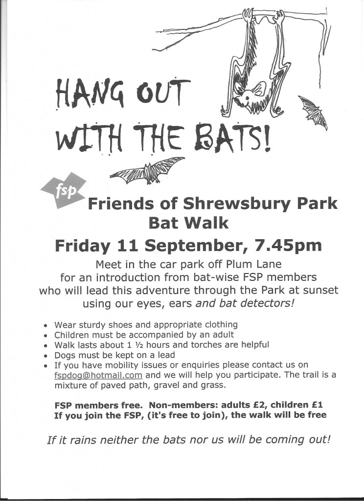 Friends of Shrewsbury Park's bat walk poster