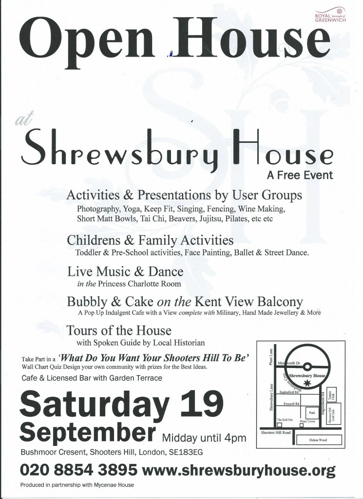 Shrewsbury House open house poster