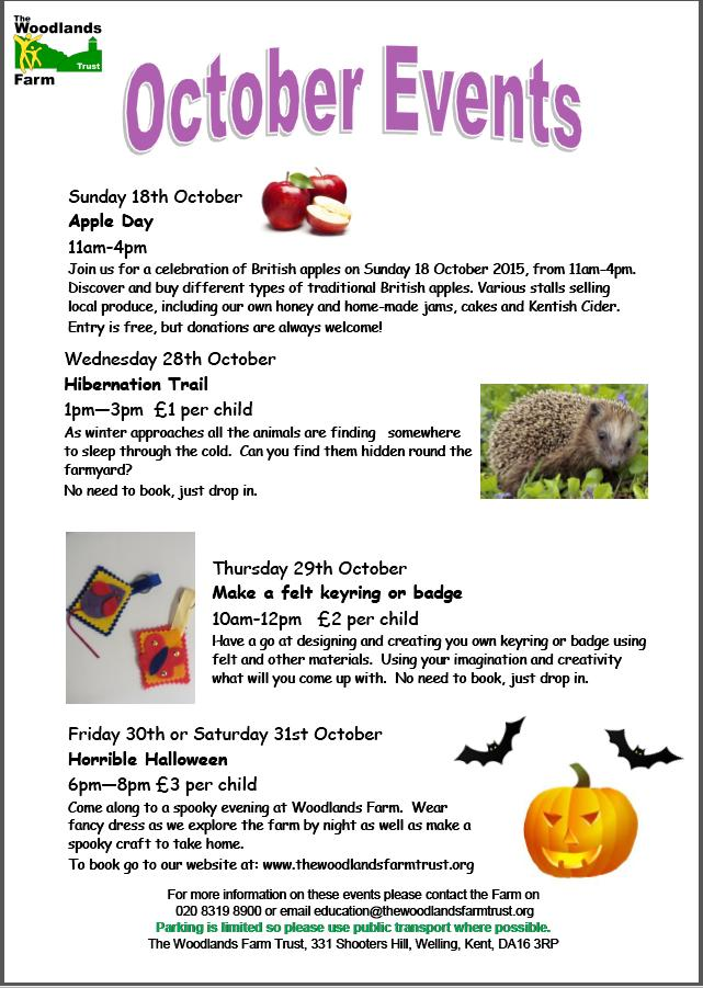 October events at Woodlands Farm 2015