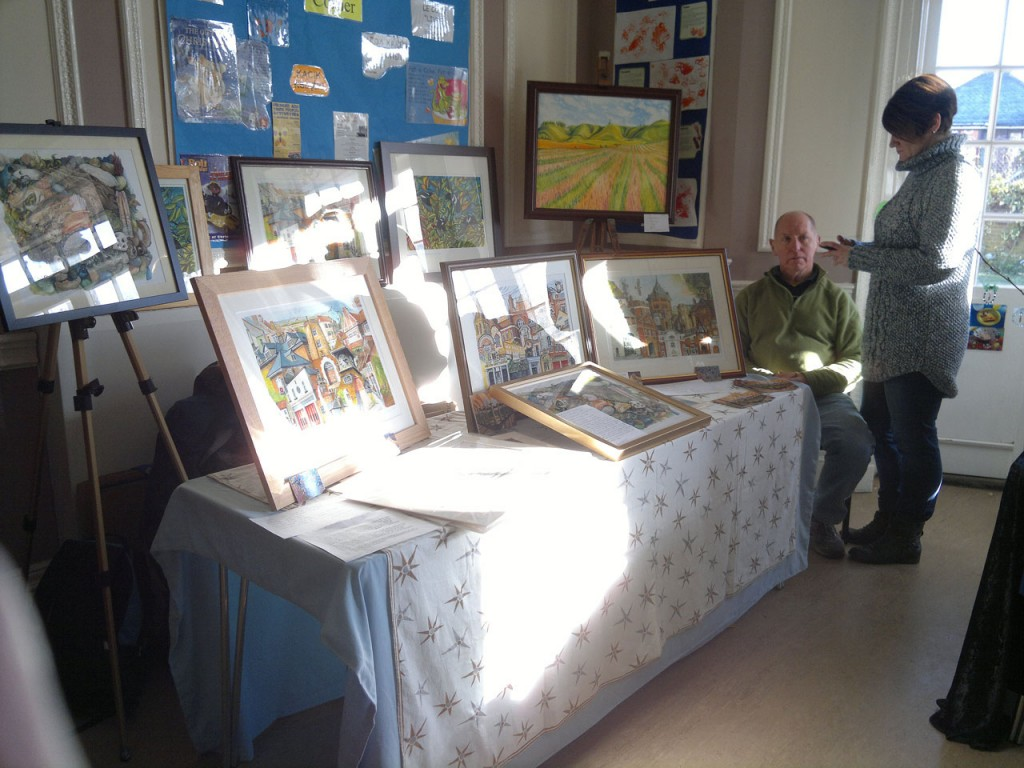 Local artist Ray Marshall at the Shrewsbury House Christmas Fair in 2012