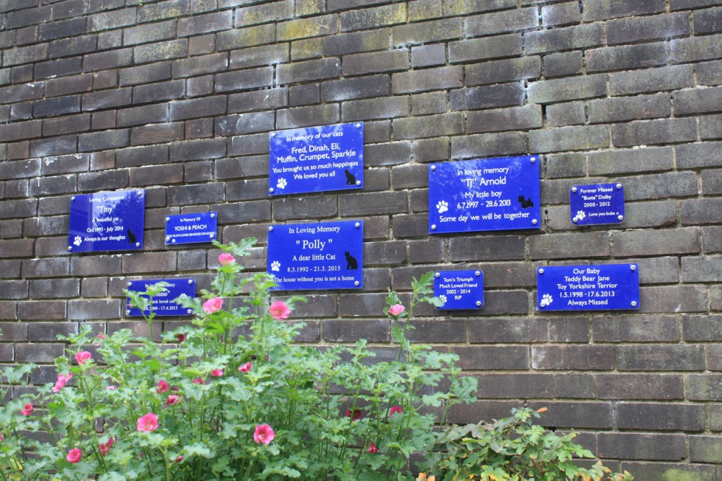 Memorial wall at the Pet Cemetery