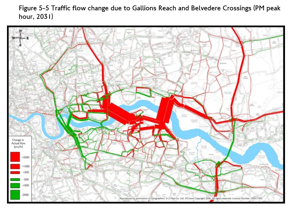 Afternoon peak traffic flow from Gallions Reach and Belvedere Traffic Impact Report