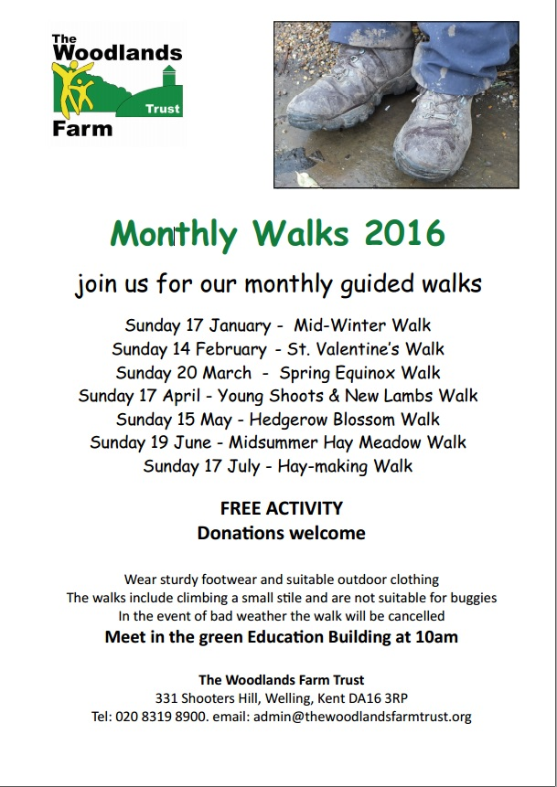 Woodlands Farm Monthly Walks Winter/Spring 2016