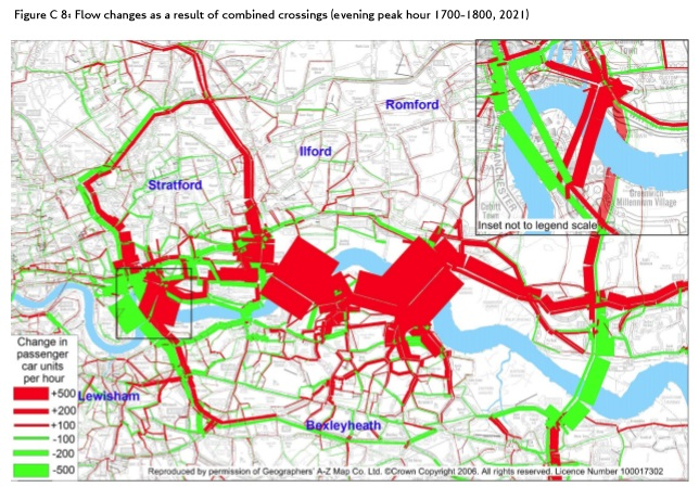 Post-Silvertown Tunnel and East London crossings afternoon peak traffic flow increases from Silvertown Tunnel Traffic Impact Report