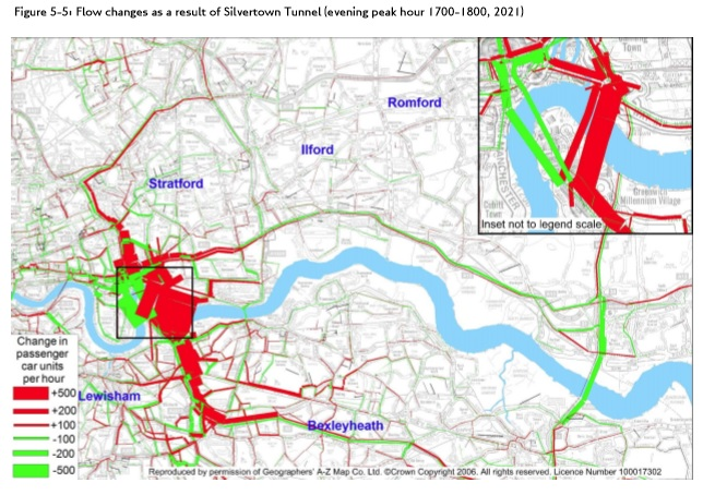 Post-Silvertown Tunnel afternoon peak traffic flow increases from Silvertown Tunnel Traffic Impact Report