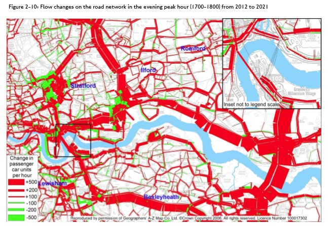 Reference case afternoon peak traffic flow increases from Silvertown Tunnel Traffic Impact Report