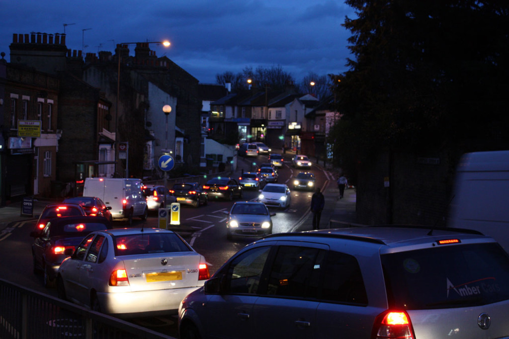 Evening rush-hour traffic on Plumstead Common Road
