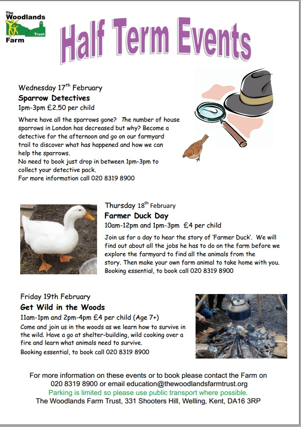 Woodlands Farm February Half Term Events poster