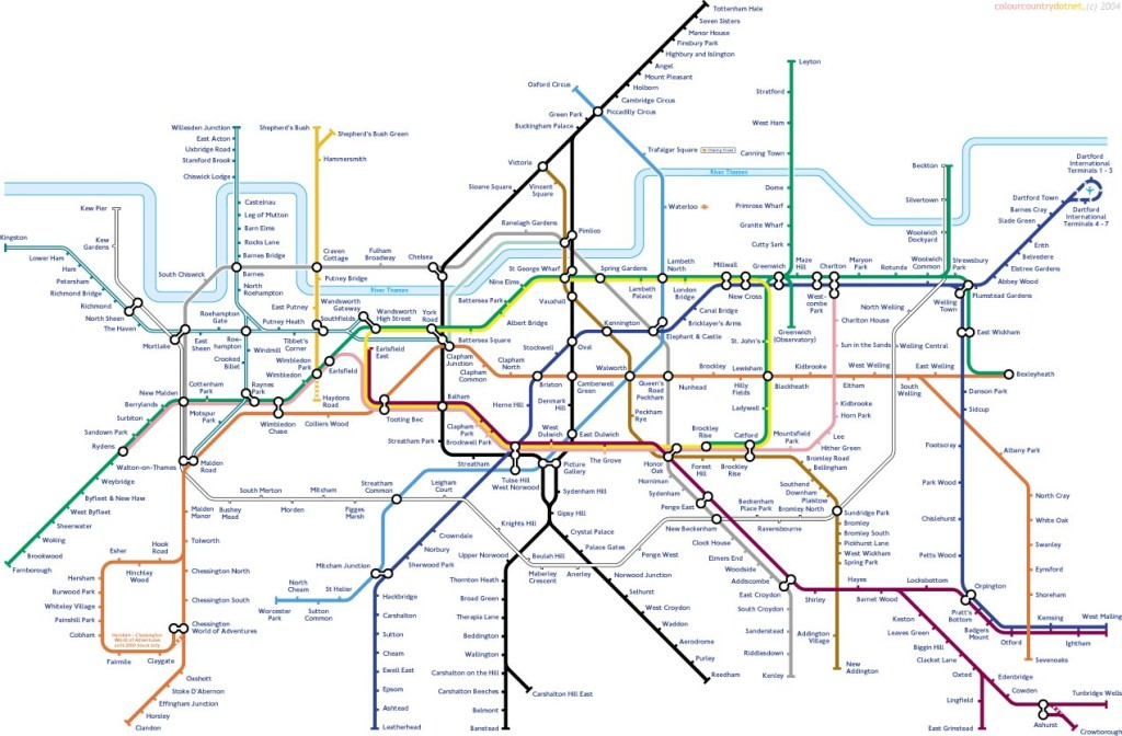 Upside Down Tube Map - with North/South reversal from not Geofftech.co.uk