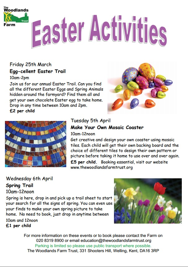 Woodlands Farm Easter Events poster 2016