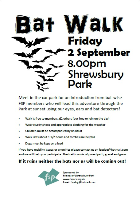 Shrewsbury Park Bat walk poster 2016