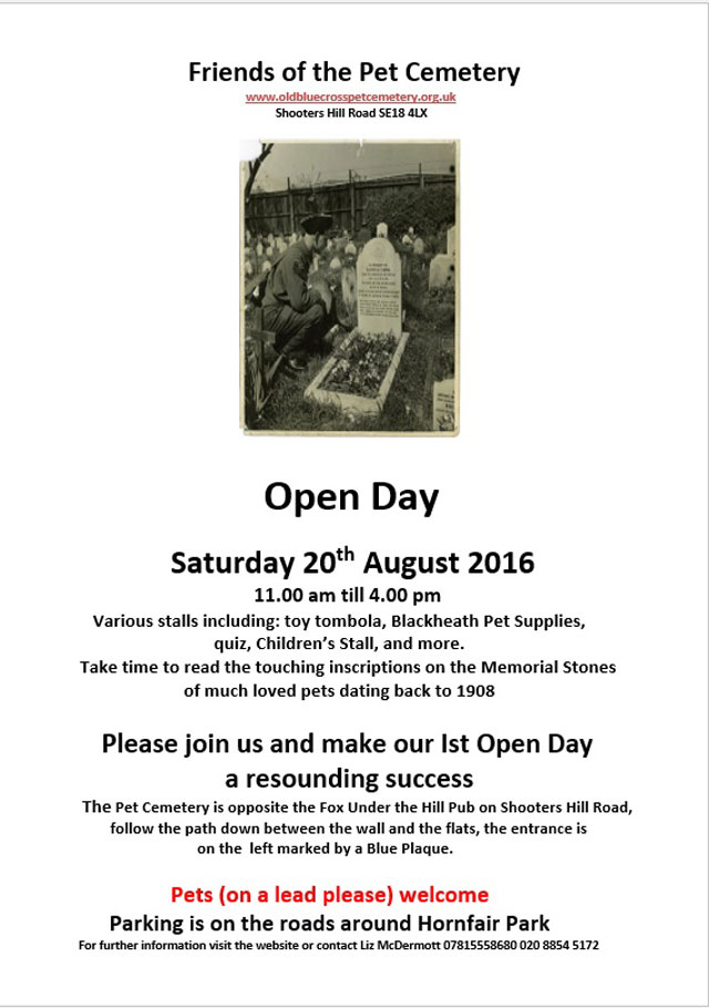 The Friends of the Pet Cemetery Open Day2016 poster