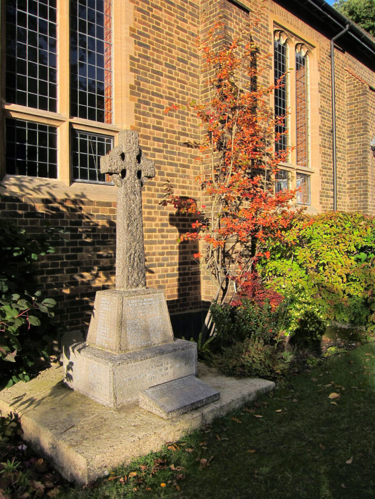 The Welling War Memorial in its current position at St John the Evangelist Church
