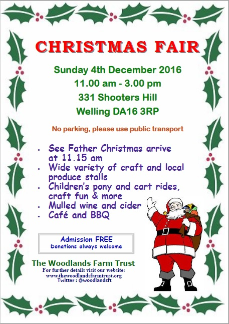 Woodlands Farm Christmas fair poster 2016